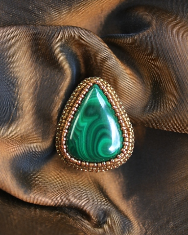 Malachite Teardrop Ring 1