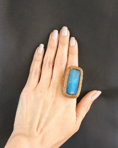 Blue Fire Agate Ring 3