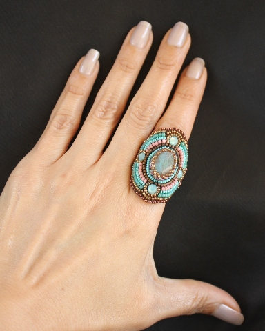 Labradorite & Pacific Opal Crystal Wrap Ring 2
