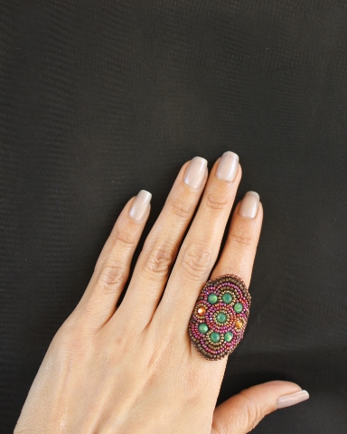 Pink & Green Crystal Wrap Ring