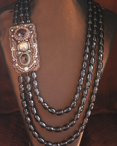 3 Strand Smoky Quartz Side Panel Necklace