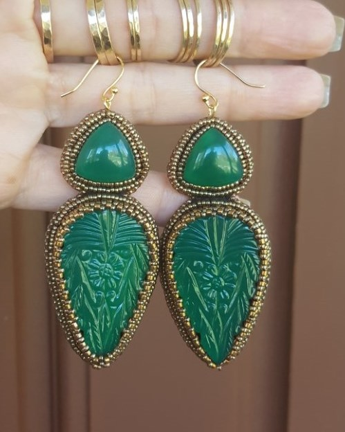 Carved Green Onyx Earrings