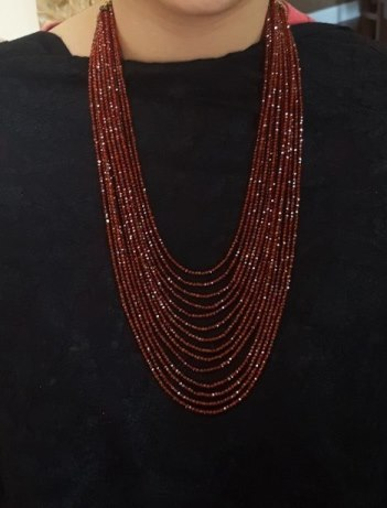 Deep Red Faceted Cubic Zirconia Necklace