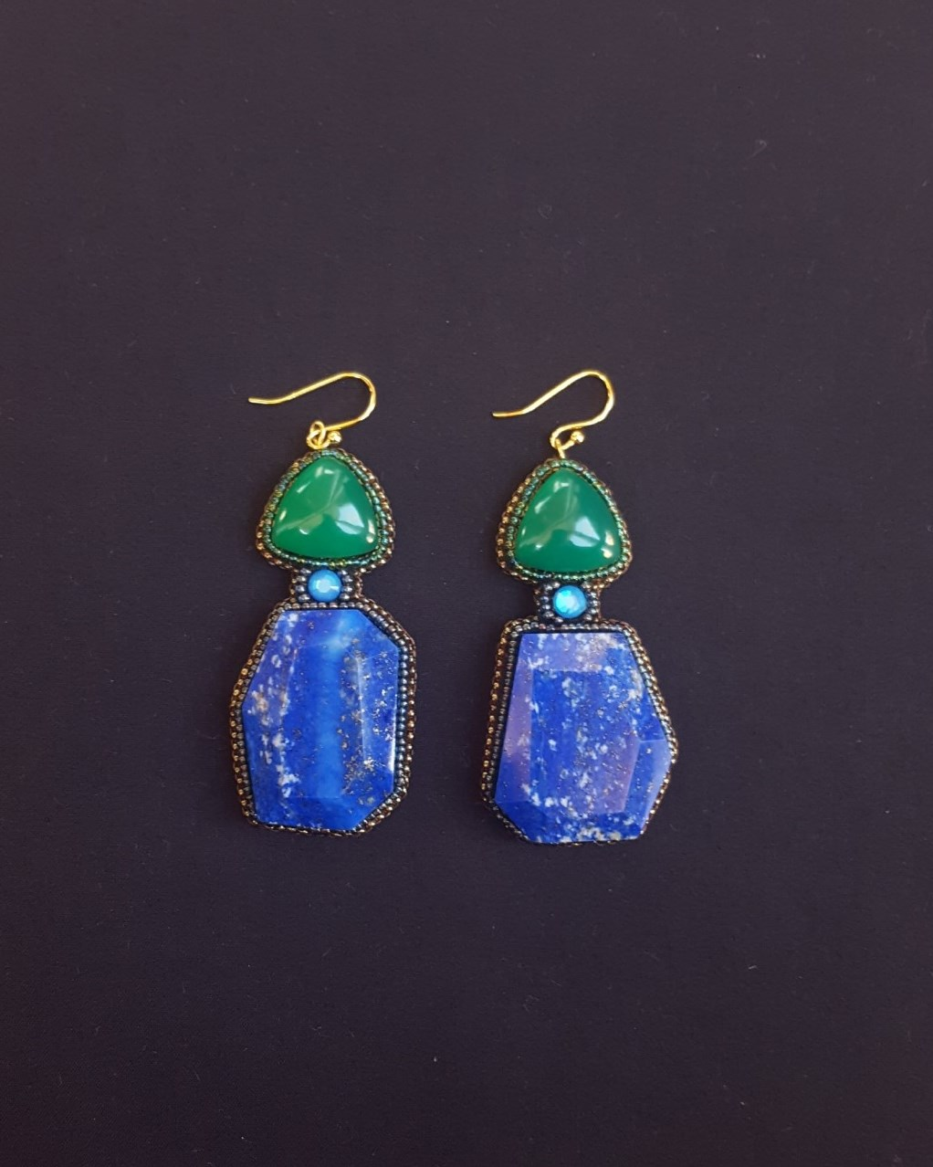 Free form Lapis & Green Onyx Earrings