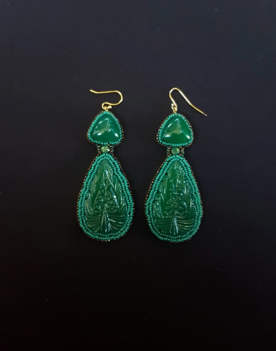 Carved Green Onyx Earrings 2
